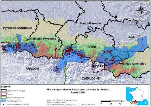 Aire de répartition de l'espèce Ursus arctos dans les Pyrénées - France en 2010