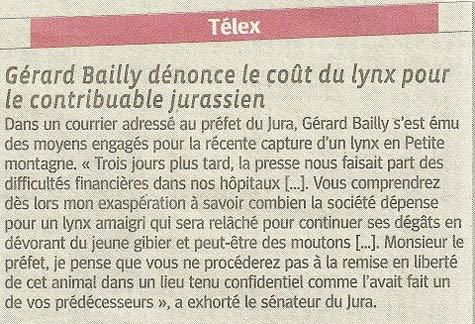 Gérard Bailly dénonce le cout du lynx pour le contribuable jurassien