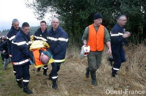 Intervention des secours lors d'un accident de chasse