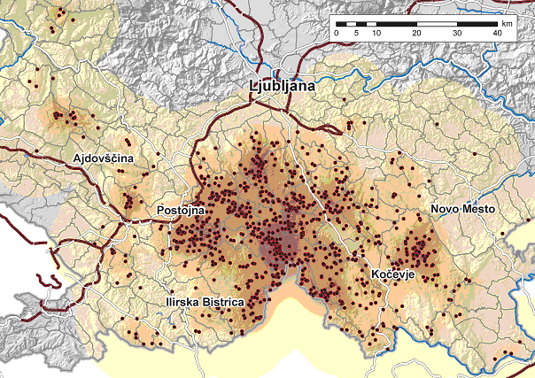 Les ours en Slovénie sur +- 3200 km/2