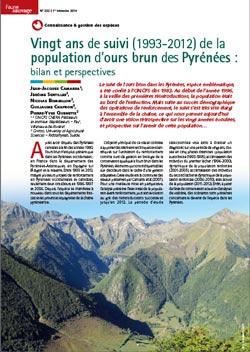Vingt ans de suivi de la population d'ours brun des Pyrénées : bilan et perspectives