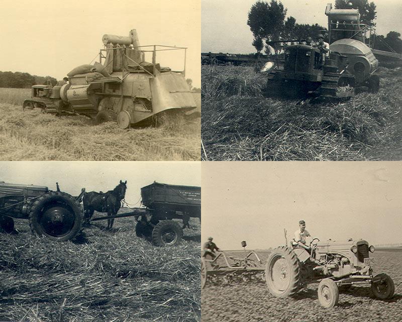 travaux des champs et moisson à Vieux-Waleffe (B) en 1951. Mon père, casqué sur le tracteur à chenille Allis Chalmer du Plan Marshall